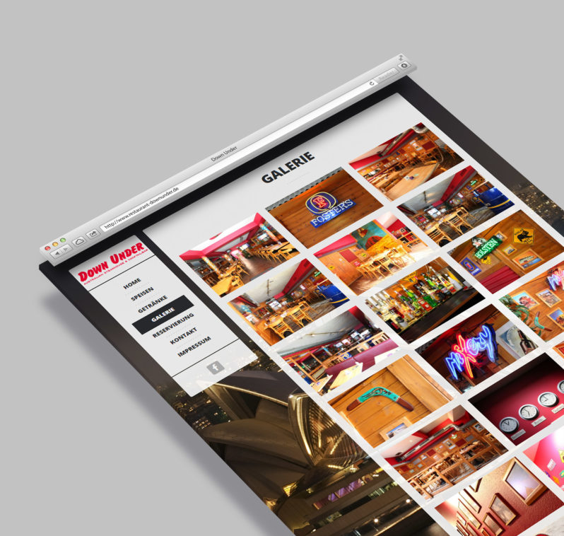 Homepage Restaurant Down Under - Webdesign