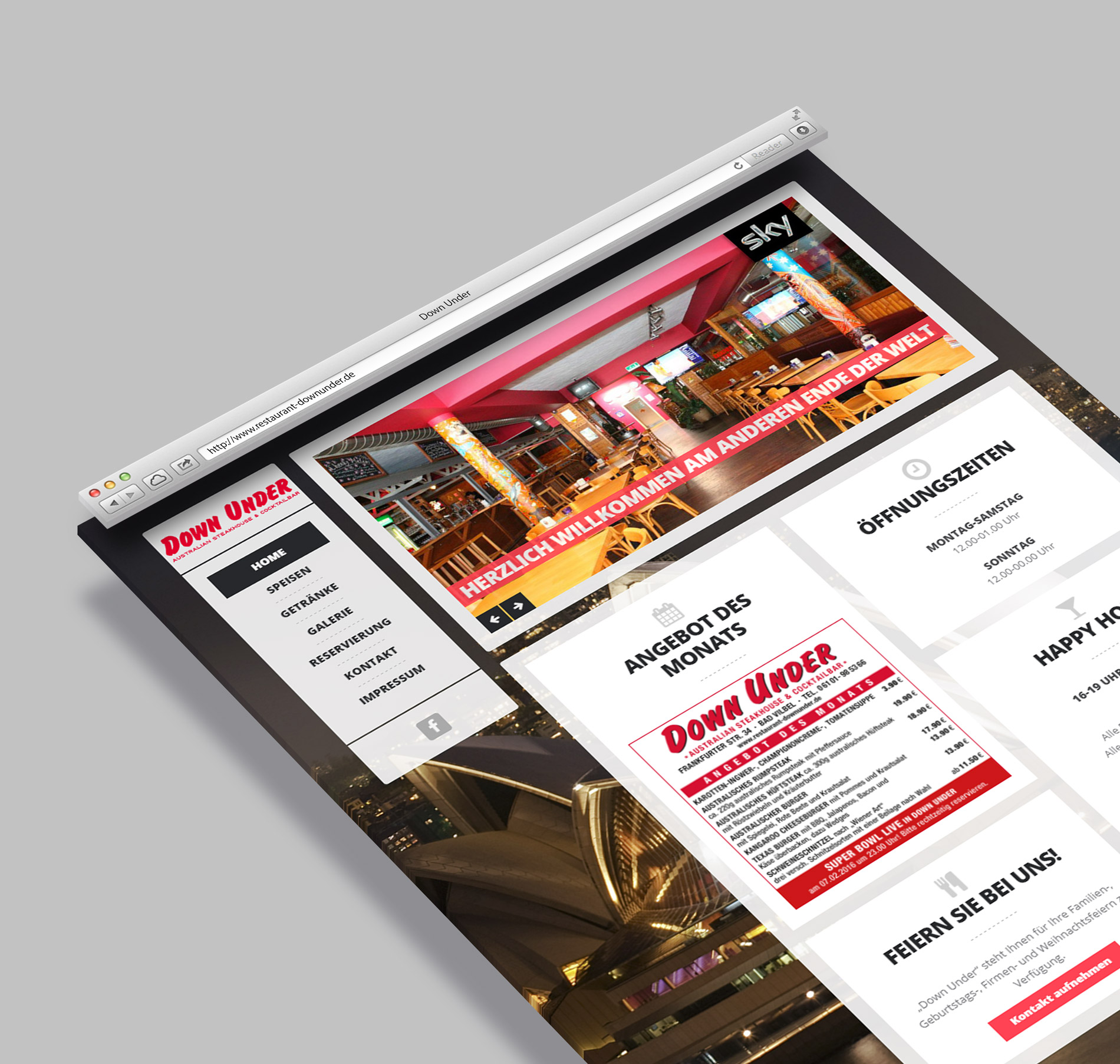 Neue homepage f r das restaurant down under homepage for Grafiker in frankfurt